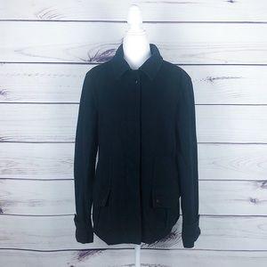 J.Crew Black Wool Pea Coat Hidden Button Large